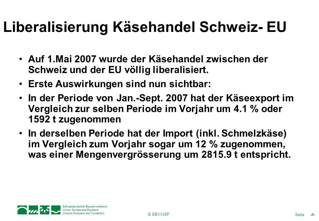 16Seite Schweizerischer Bauernverband Union Suisse des Paysans Unione Svizzera dei Contadini © SBV/USP Liberalisierung Käsehandel Schweiz- EU Auf 1.Ma