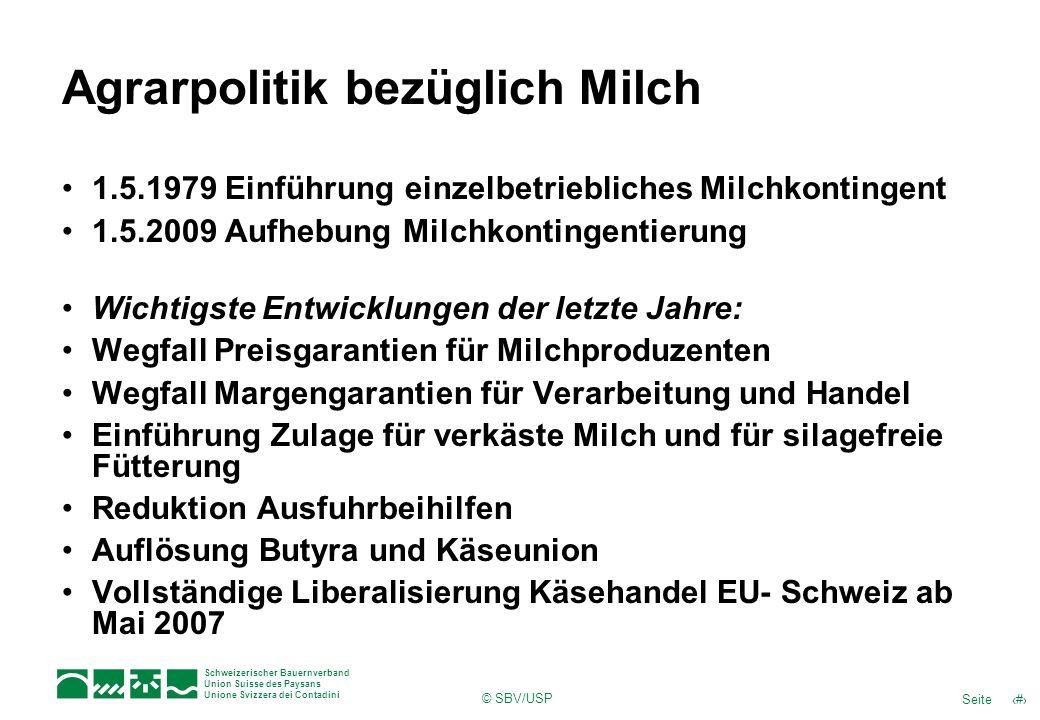 6Seite Schweizerischer Bauernverband Union Suisse des Paysans Unione Svizzera dei Contadini © SBV/USP Milchproduktion in der Schweiz Quelle: BLW, BFS, Milchstatistik