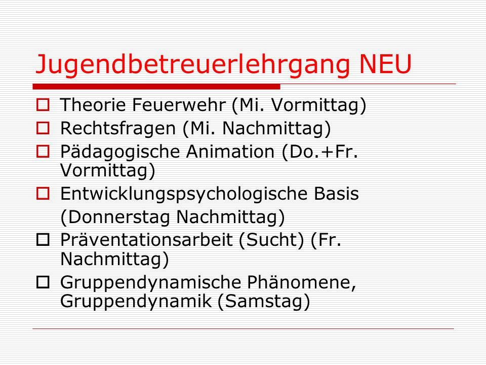 Jugendbetreuerlehrgang NEU Theorie Feuerwehr (Mi. Vormittag) Rechtsfragen (Mi. Nachmittag) Pädagogische Animation (Do.+Fr. Vormittag) Entwicklungspsyc