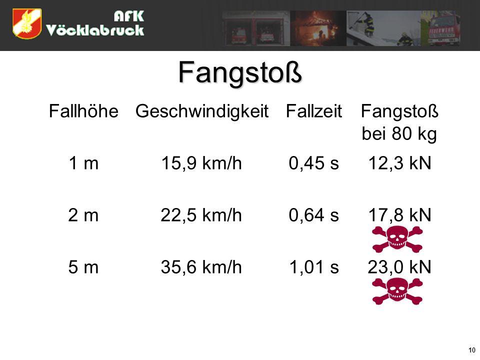 10 Fangstoß FallhöheGeschwindigkeitFallzeitFangstoß bei 80 kg 1 m15,9 km/h0,45 s12,3 kN 2 m22,5 km/h0,64 s17,8 kN 5 m35,6 km/h1,01 s23,0 kN
