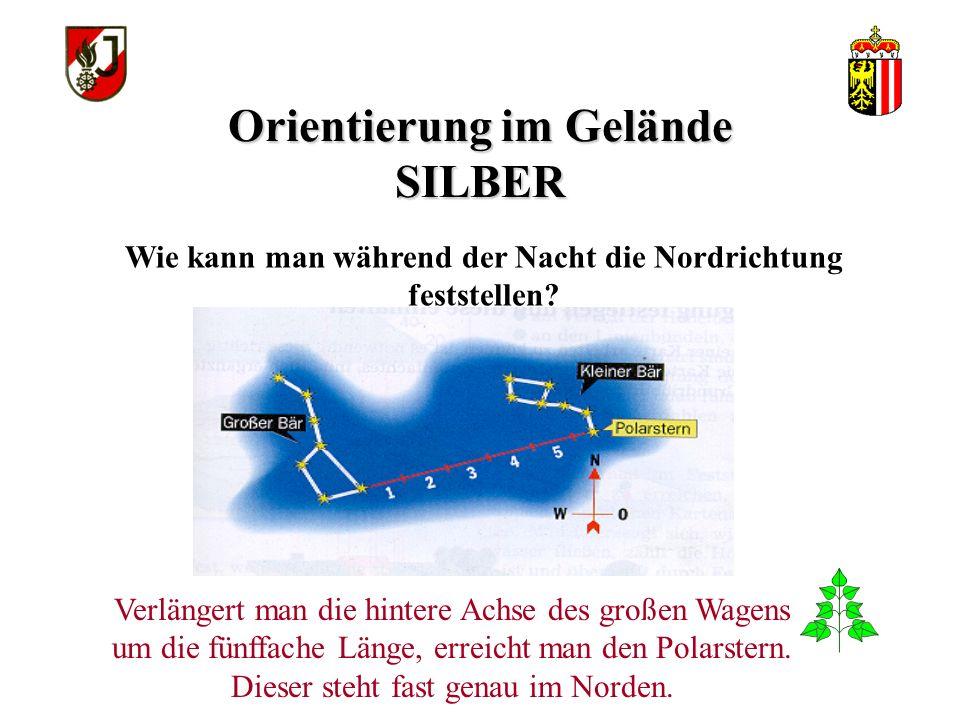 Orientierung im Gelände SILBER Wie kann man während der Nacht die Nordrichtung feststellen.
