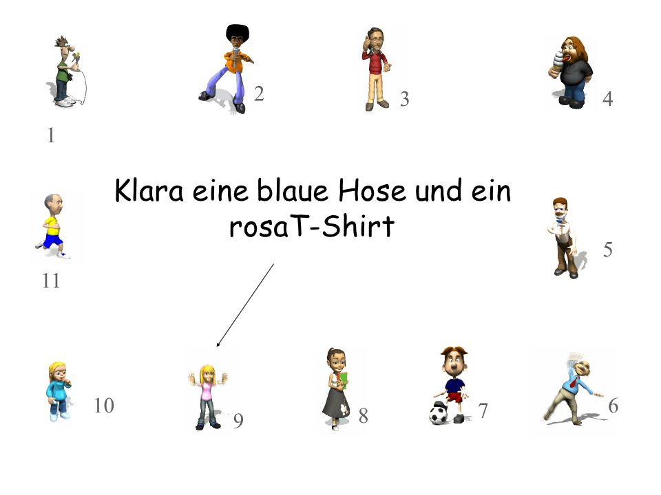 Klara eine blaue Hose und ein rosaT-Shirt 10 11 8 9 3 2 1 7 5 4 6