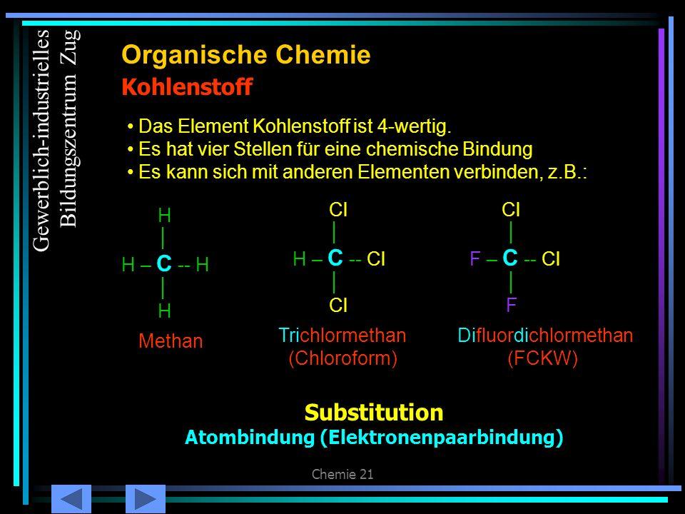 Chemie 21 Kohlenstoff (2) Organische Chemie Es kann sich mit anderen Elementen UND sich selber verbinden H H H – C – C -- H H H Ethan H Cl H – C – C -- Cl H Cl Trichlorethan Gewerblich-industrielles Bildungszentrum Zug