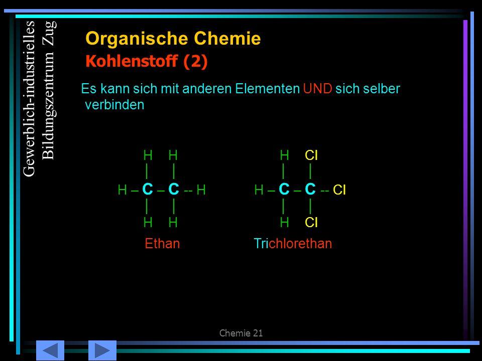 Chemie 21 Kohlenstoff (3) Organische Chemie Zwischen C-Atomen können sich Einfach, Doppel- oder Dreifachbindungen bilden H H H – C – C -- H H H Ethan H H C == C H H Ethen (Ethylen) H – C C -- H Ethyn GesättigtUngesättigt Gewerblich-industrielles Bildungszentrum Zug