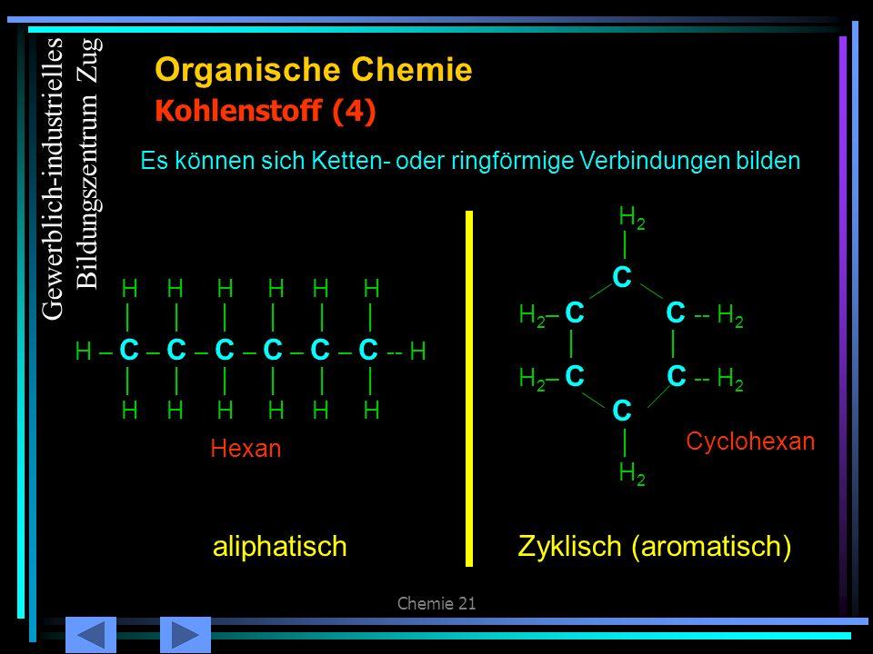 Chemie 21 Kohlenstoff (4) Organische Chemie Es können sich Ketten- oder ringförmige Verbindungen bilden H H H H H H H – C – C – C – C – C – C -- H H H