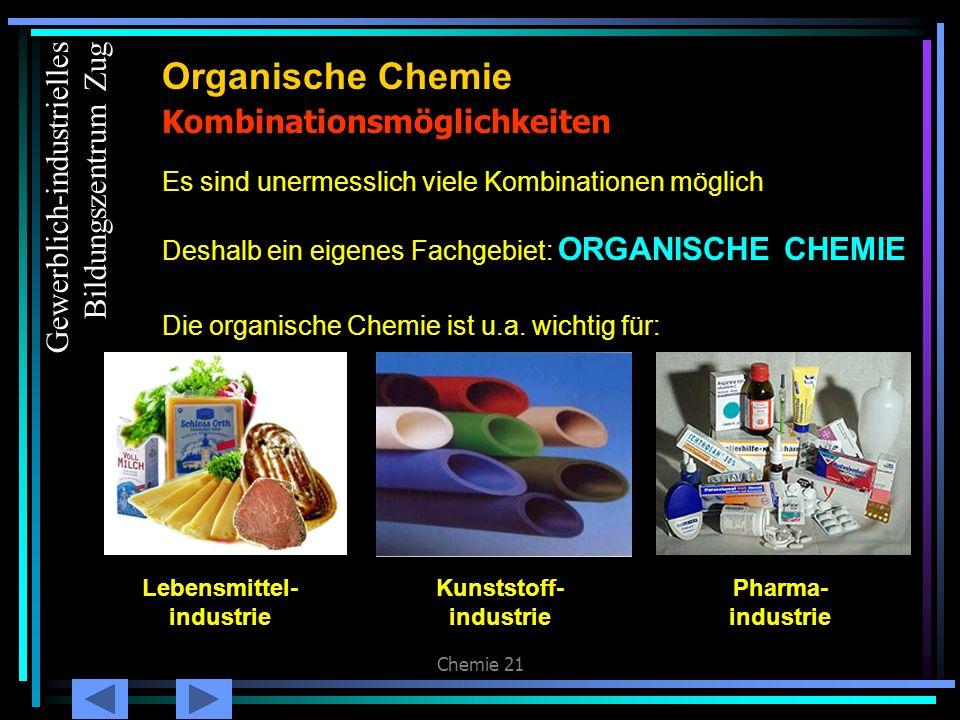 Chemie 21 Kombinationsmöglichkeiten Organische Chemie Es sind unermesslich viele Kombinationen möglich Deshalb ein eigenes Fachgebiet: ORGANISCHE CHEM