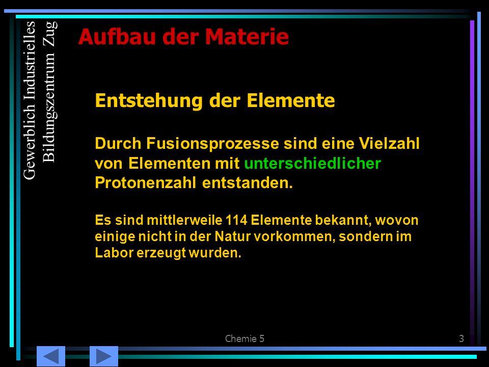 Chemie 54 Protonen- & Elektronenzahl Aufbau der Materie Im elektrisch neutralen Atom sind immer gleich viele Protonen wie Elektronen vorhanden Wasserstoff (Deuterium) 1 Proton 1 Elektron Helium: 2 Protonen 2 Elektronen Gewerblich Industrielles Bildungszentrum Zug