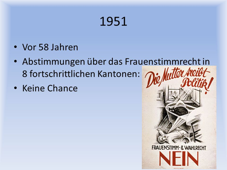 1951 Vor 58 Jahren Abstimmungen über das Frauenstimmrecht in 8 fortschrittlichen Kantonen: Keine Chance