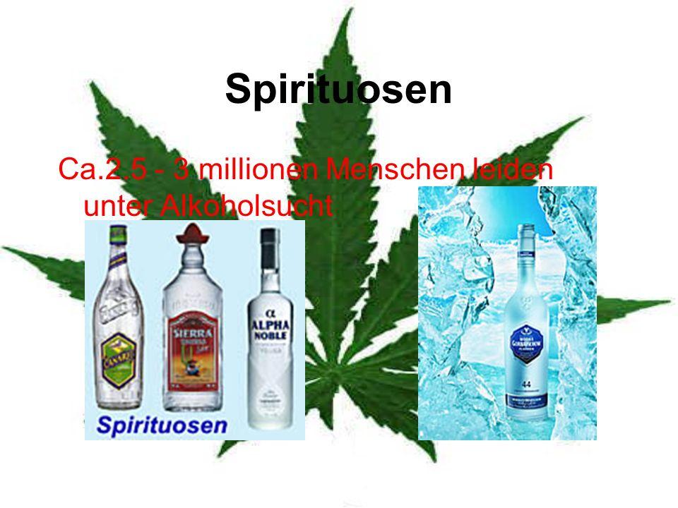 Spirituosen Ca.2.5 - 3 millionen Menschen leiden unter Alkoholsucht