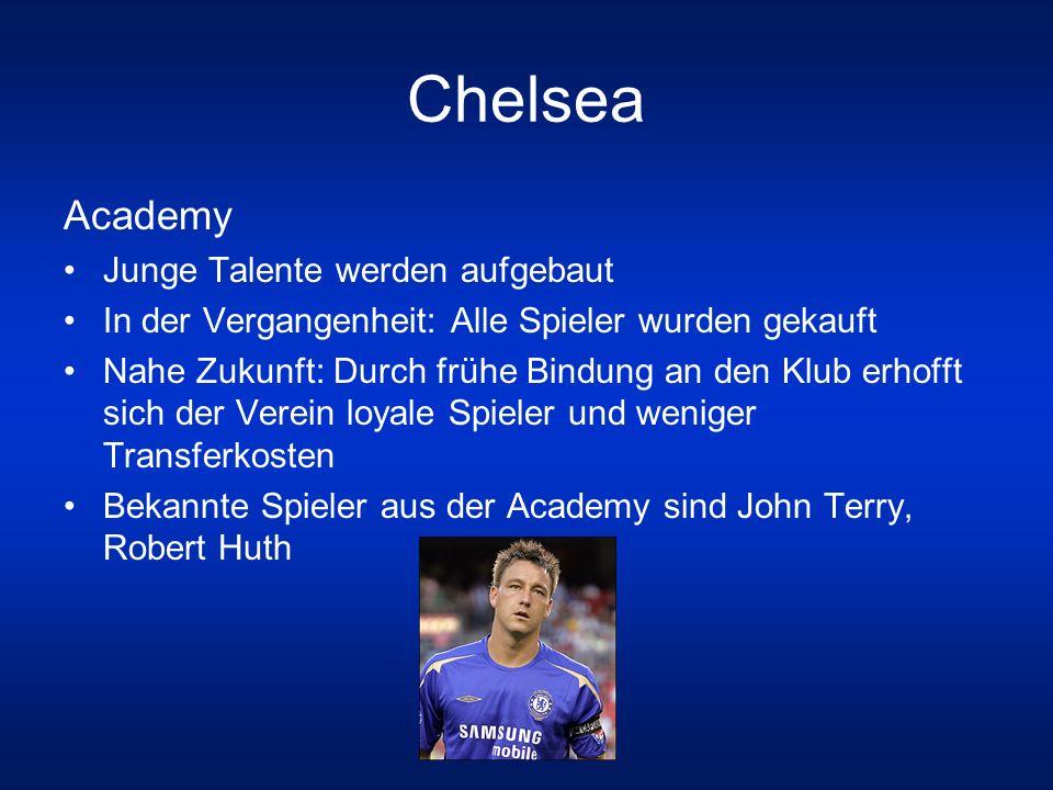 Chelsea Academy Junge Talente werden aufgebaut In der Vergangenheit: Alle Spieler wurden gekauft Nahe Zukunft: Durch frühe Bindung an den Klub erhofft