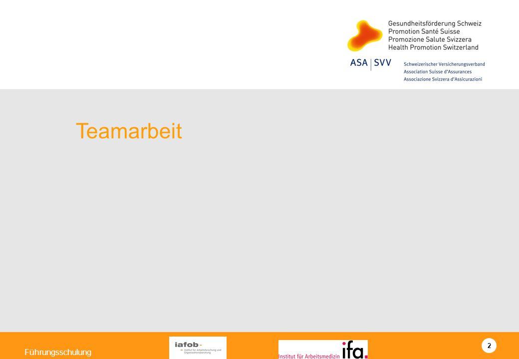 13 Führungsschulung Teamorientierte Zusammenarbeit entwickeln Verständnis entwickeln Hindernisse/Unterstützung zusammentragen Massnahmen definieren und Aktionsplan erstellen (Institut für Arbeitsforschung und Organisationsberatung) Teamorientierte Zusammenarbeit heisst für mich/uns….
