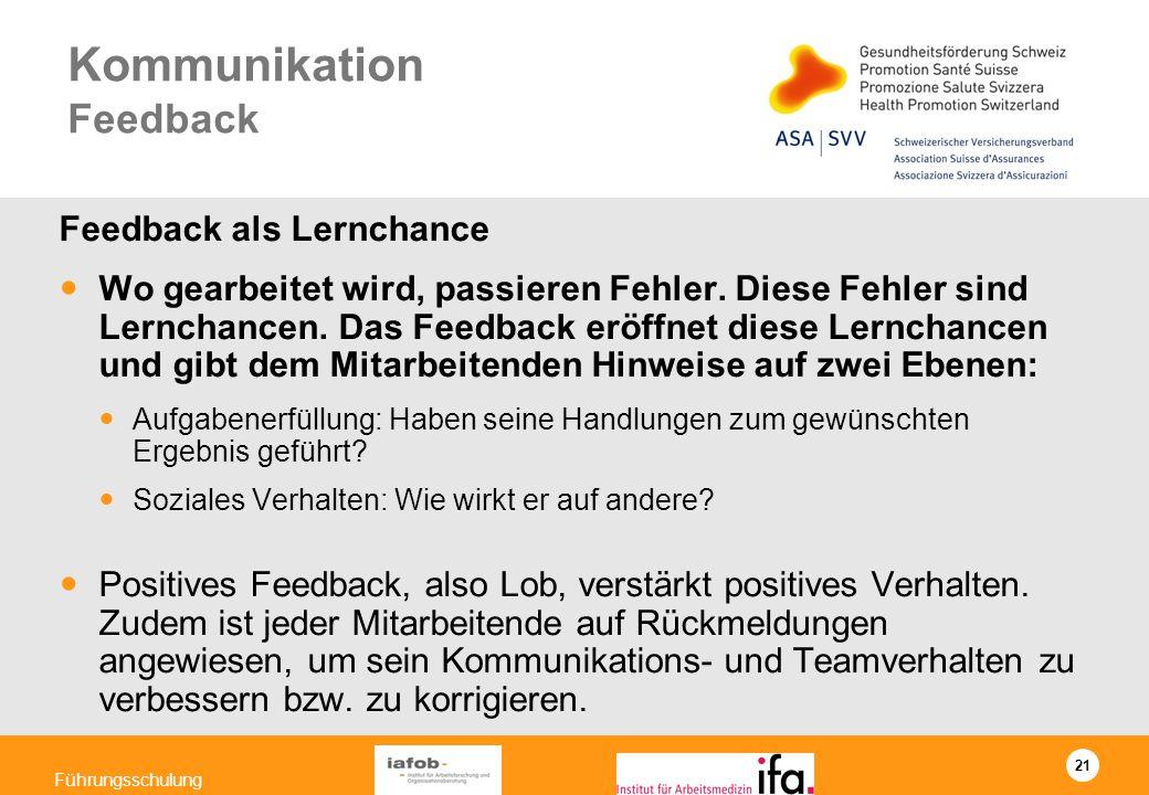 21 Führungsschulung Kommunikation Feedback Feedback als Lernchance Wo gearbeitet wird, passieren Fehler. Diese Fehler sind Lernchancen. Das Feedback e
