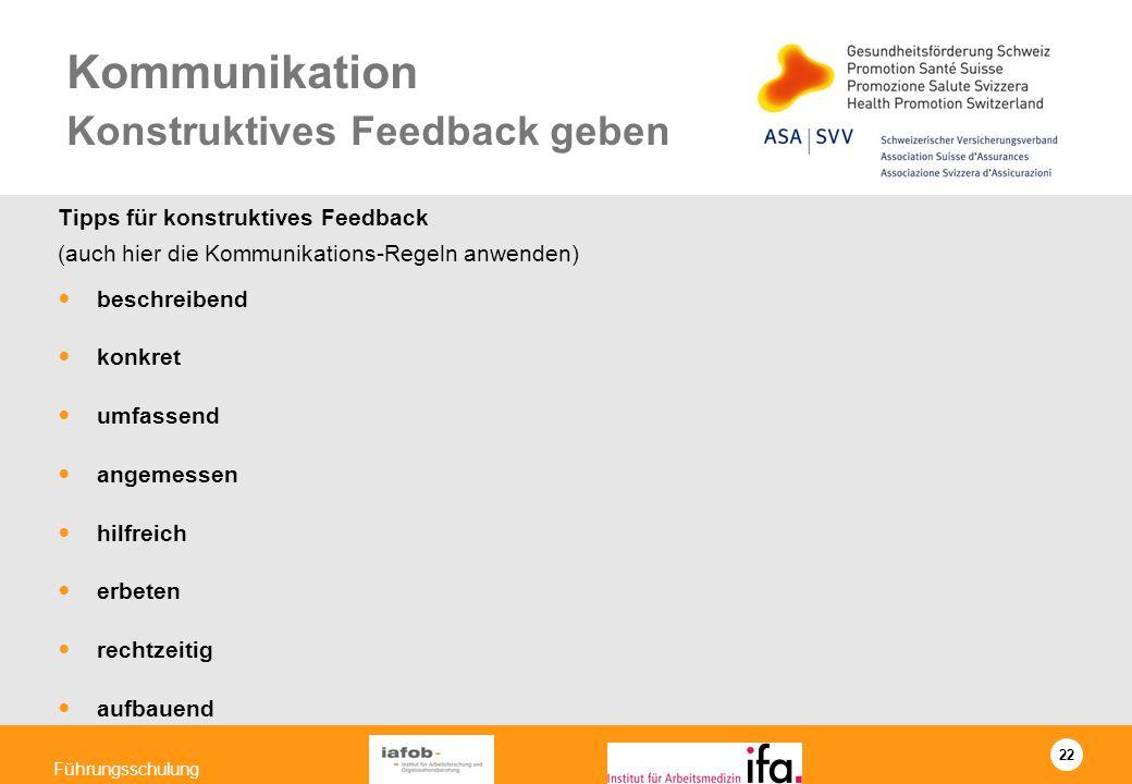 22 Führungsschulung Kommunikation Konstruktives Feedback geben Tipps für konstruktives Feedback (auch hier die Kommunikations-Regeln anwenden) beschre