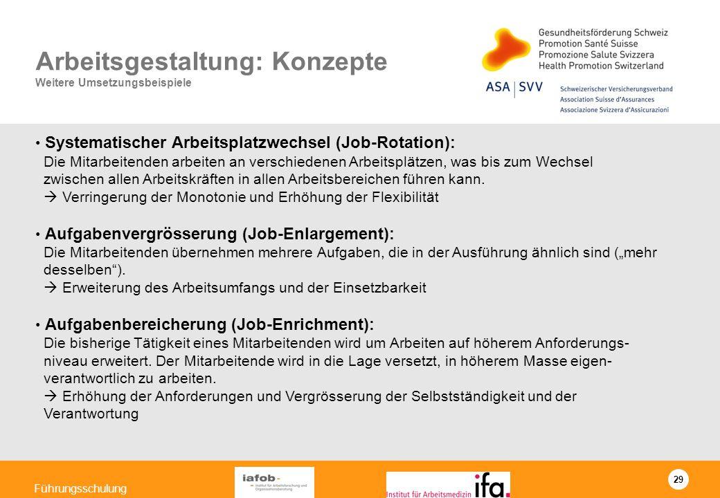 29 Führungsschulung Arbeitsgestaltung: Konzepte Weitere Umsetzungsbeispiele Systematischer Arbeitsplatzwechsel (Job-Rotation): Die Mitarbeitenden arbe