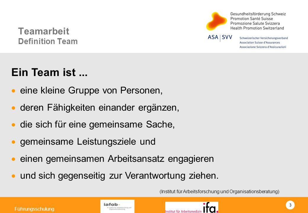 3 Führungsschulung Ein Team ist... eine kleine Gruppe von Personen, deren Fähigkeiten einander ergänzen, die sich für eine gemeinsame Sache, gemeinsam
