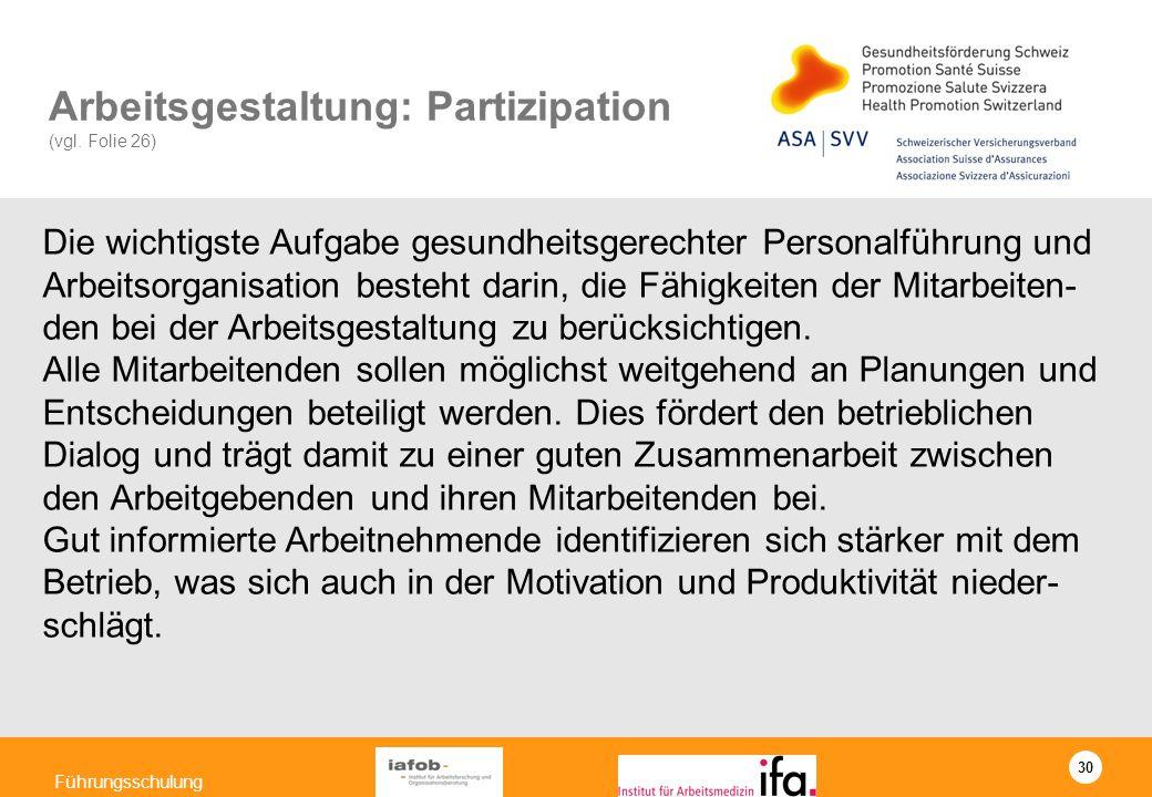 30 Führungsschulung Arbeitsgestaltung: Partizipation (vgl. Folie 26) Die wichtigste Aufgabe gesundheitsgerechter Personalführung und Arbeitsorganisati