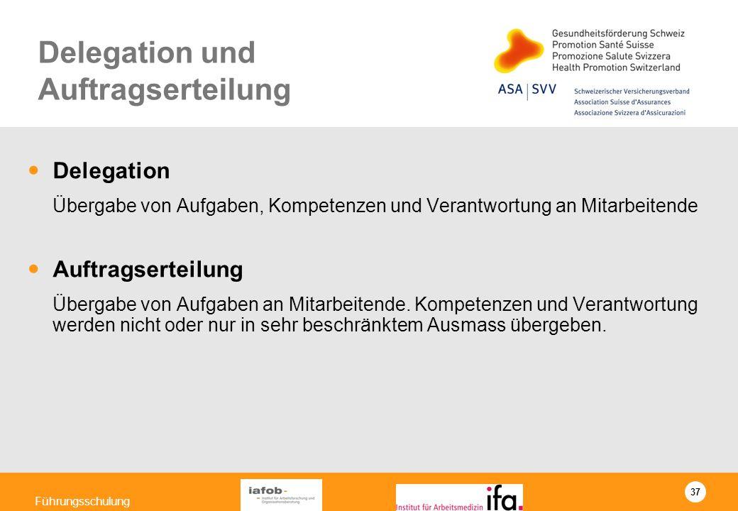 37 Führungsschulung Delegation und Auftragserteilung Delegation Übergabe von Aufgaben, Kompetenzen und Verantwortung an Mitarbeitende Auftragserteilun