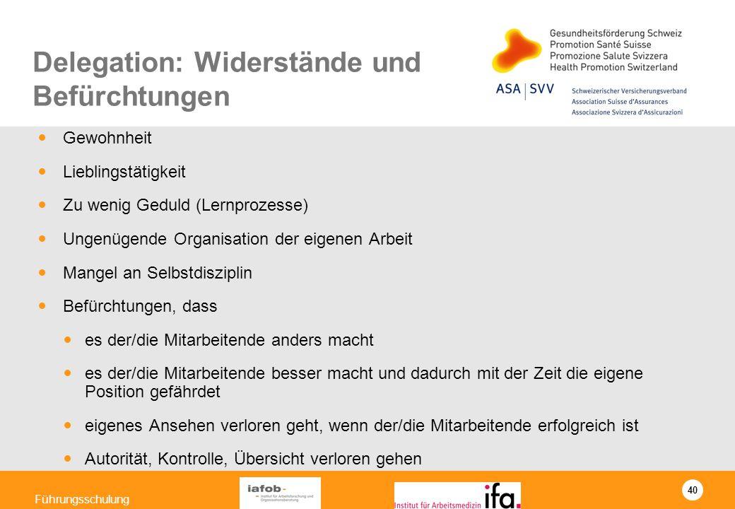 40 Führungsschulung Delegation: Widerstände und Befürchtungen Gewohnheit Lieblingstätigkeit Zu wenig Geduld (Lernprozesse) Ungenügende Organisation de