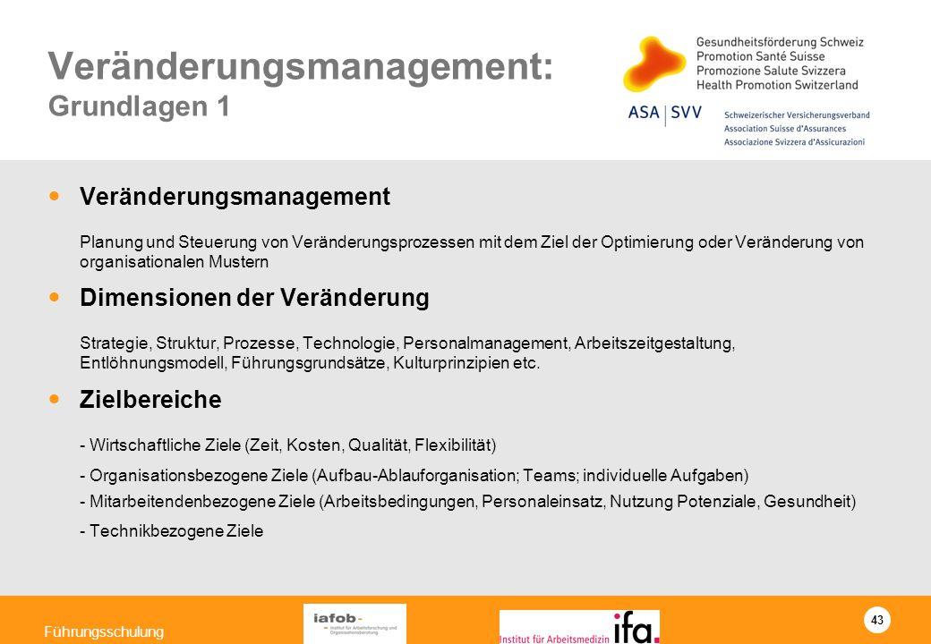 43 Führungsschulung Veränderungsmanagement: Grundlagen 1 Veränderungsmanagement Planung und Steuerung von Veränderungsprozessen mit dem Ziel der Optim