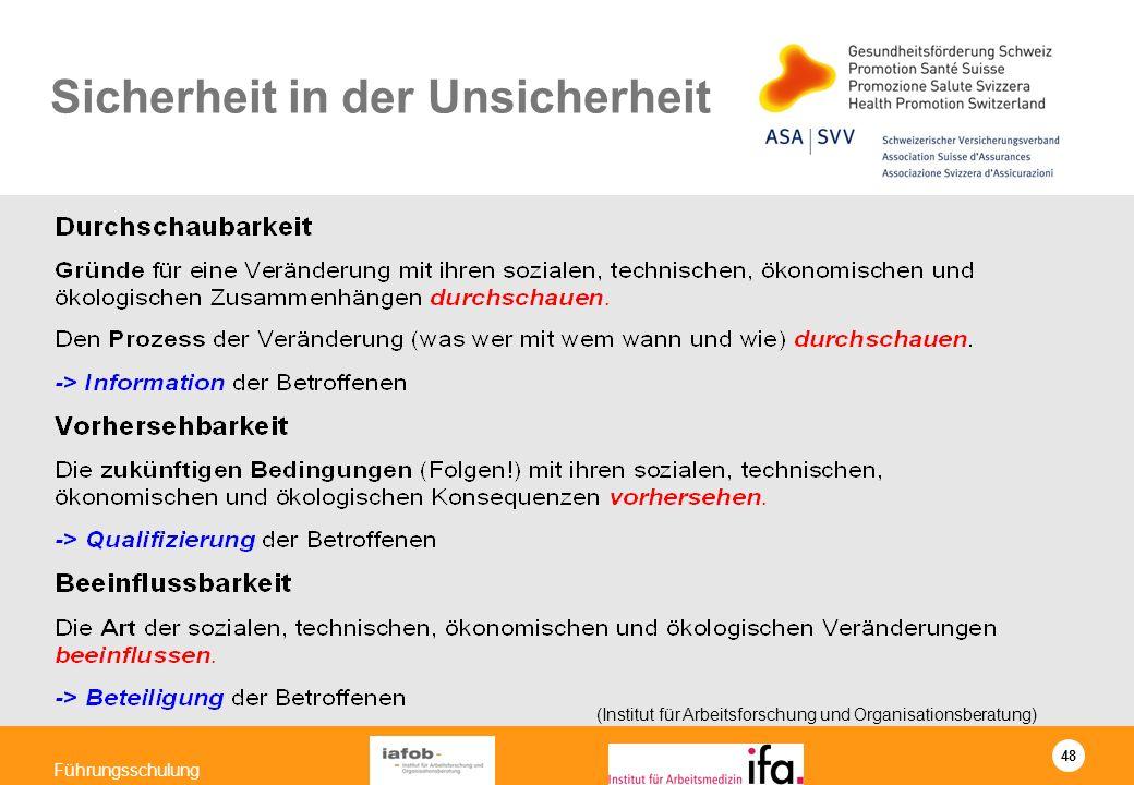 48 Führungsschulung Sicherheit in der Unsicherheit (Institut für Arbeitsforschung und Organisationsberatung)
