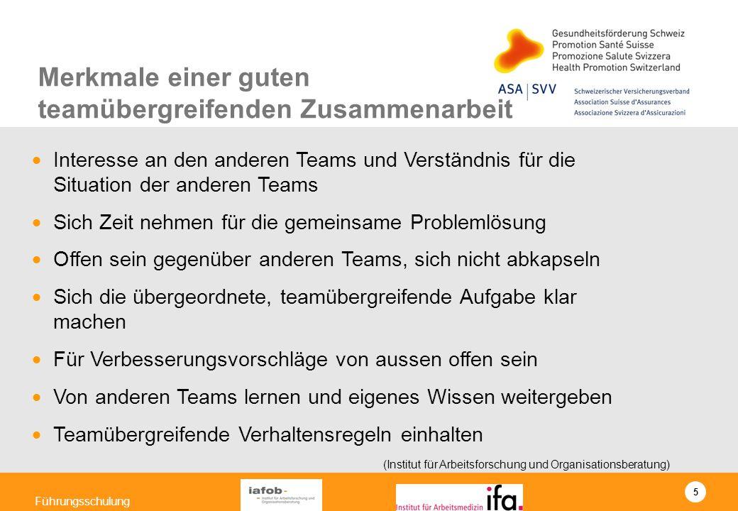 5 Führungsschulung Interesse an den anderen Teams und Verständnis für die Situation der anderen Teams Sich Zeit nehmen für die gemeinsame Problemlösun