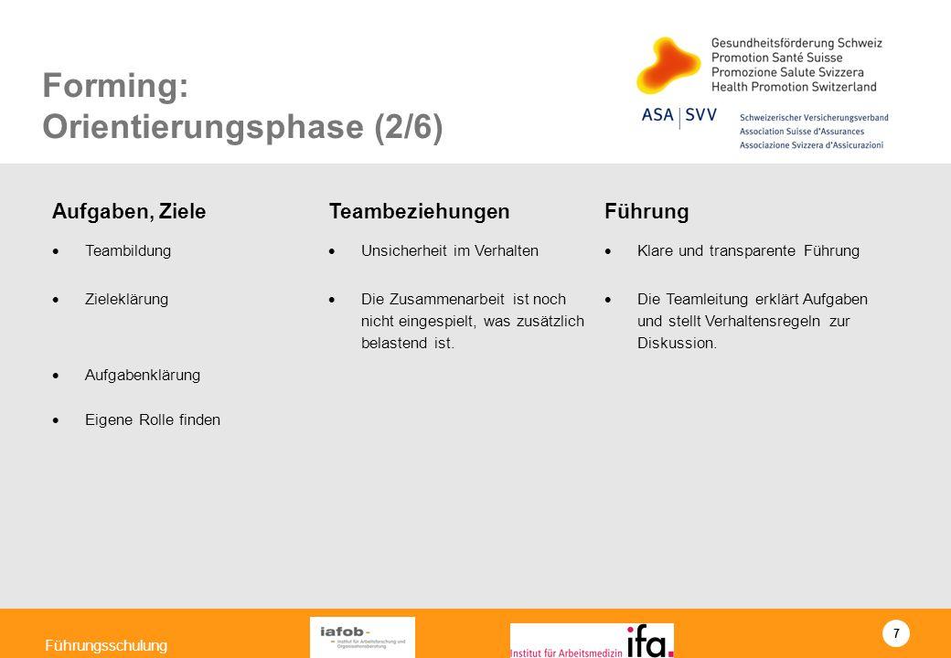 7 Führungsschulung Forming: Orientierungsphase (2/6) Aufgaben, Ziele TeambeziehungenFührung Teambildung Unsicherheit im Verhalten Klare und transparen