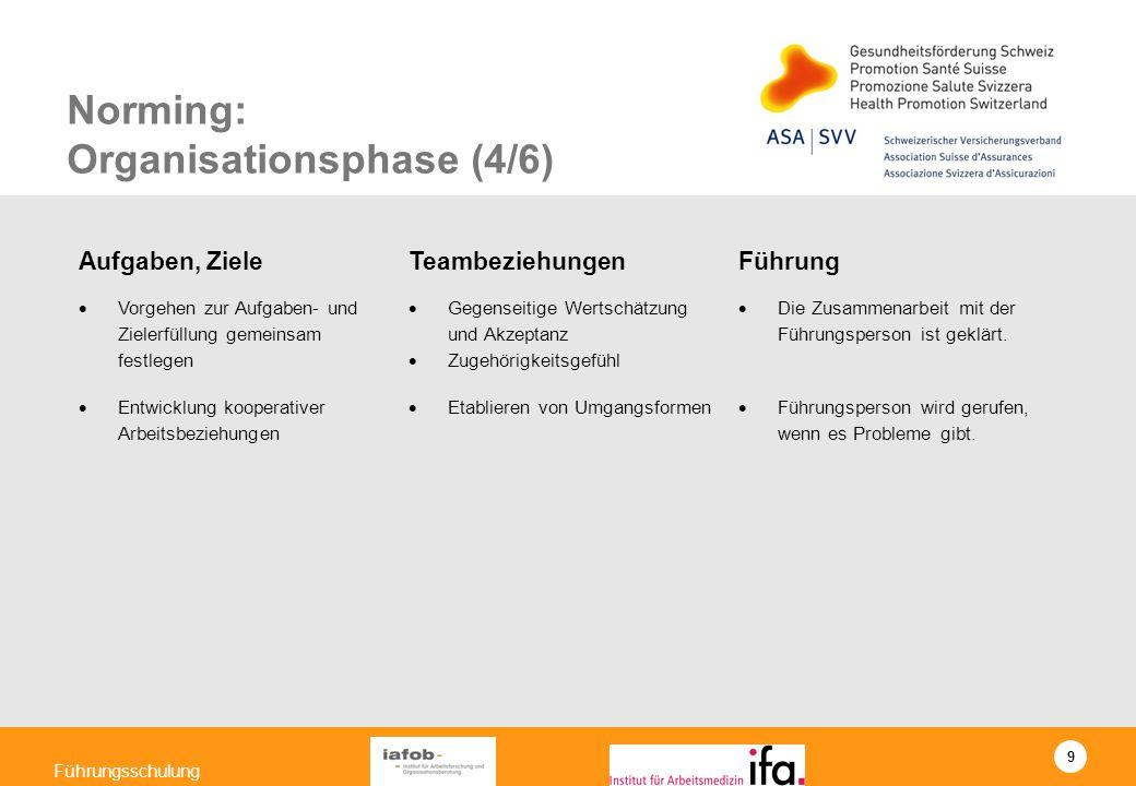 9 Führungsschulung Norming: Organisationsphase (4/6) Aufgaben, Ziele TeambeziehungenFührung Vorgehen zur Aufgaben- und Zielerfüllung gemeinsam festleg
