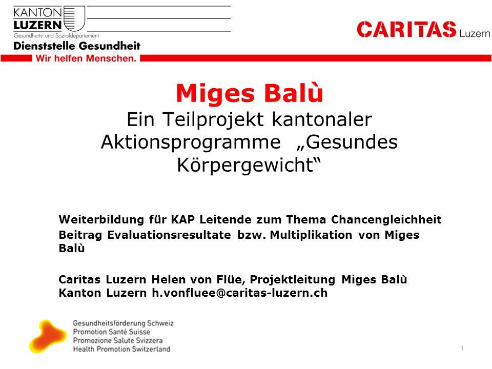 1 Miges Balù Ein Teilprojekt kantonaler Aktionsprogramme Gesundes Körpergewicht Weiterbildung für KAP Leitende zum Thema Chancengleichheit Beitrag Evaluationsresultate bzw.