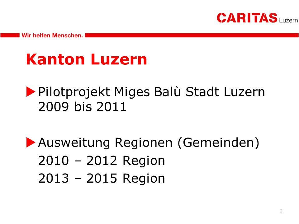 3 Kanton Luzern Pilotprojekt Miges Balù Stadt Luzern 2009 bis 2011 Ausweitung Regionen (Gemeinden) 2010 – 2012 Region 2013 – 2015 Region
