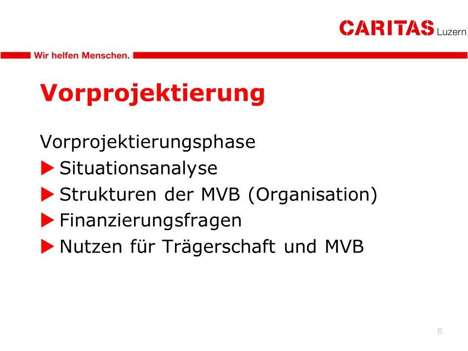 6 Vorprojektierung Vorprojektierungsphase Situationsanalyse Strukturen der MVB (Organisation) Finanzierungsfragen Nutzen für Trägerschaft und MVB