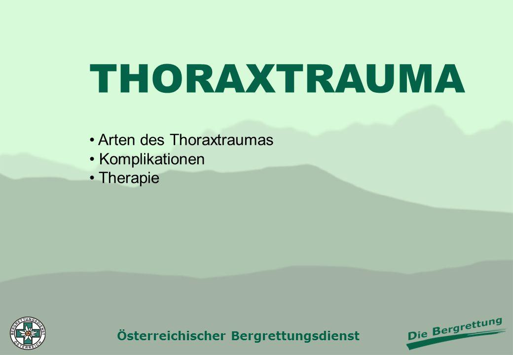 Österreichischer Bergrettungsdienst THORAXTRAUMA Arten des Thoraxtraumas Komplikationen Therapie