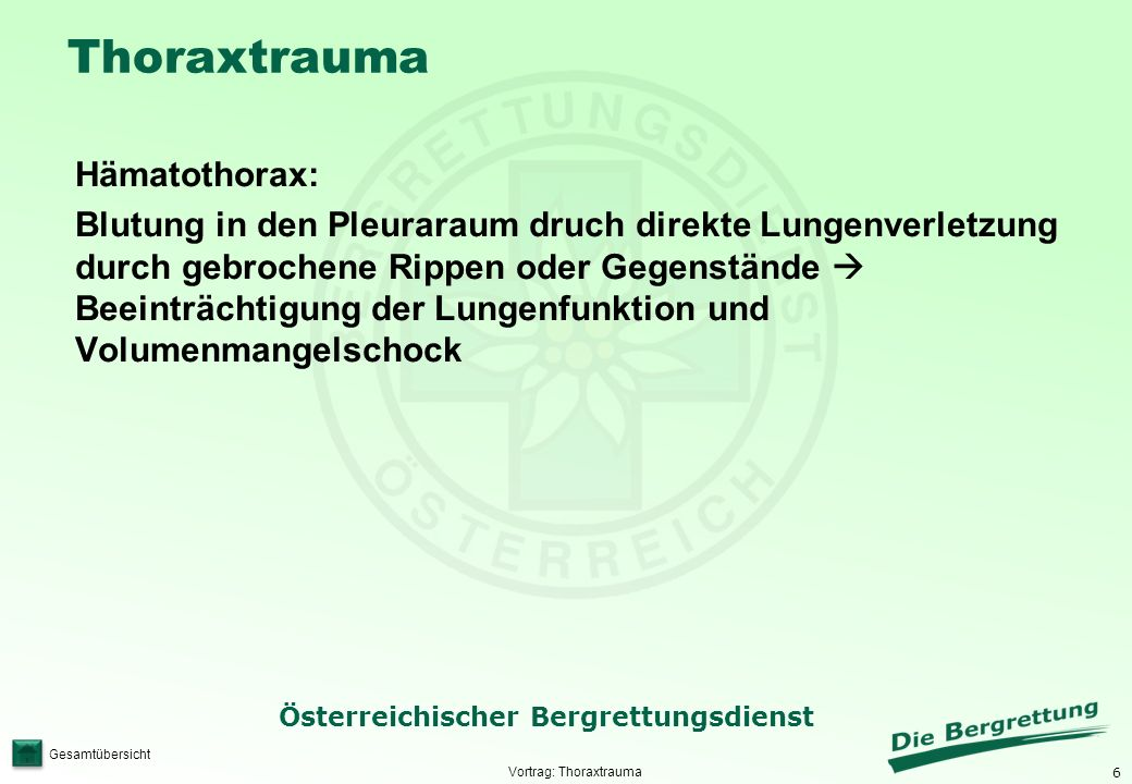 6 Österreichischer Bergrettungsdienst Gesamtübersicht Thoraxtrauma Hämatothorax: Blutung in den Pleuraraum druch direkte Lungenverletzung durch gebroc
