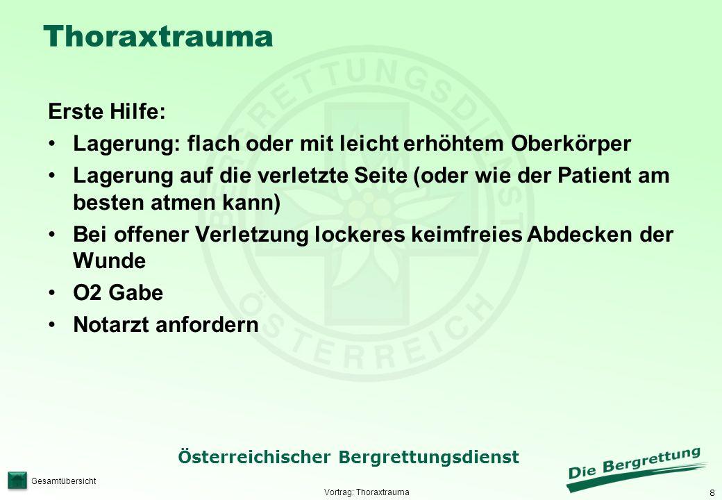 8 Österreichischer Bergrettungsdienst Gesamtübersicht Thoraxtrauma Erste Hilfe: Lagerung: flach oder mit leicht erhöhtem Oberkörper Lagerung auf die v