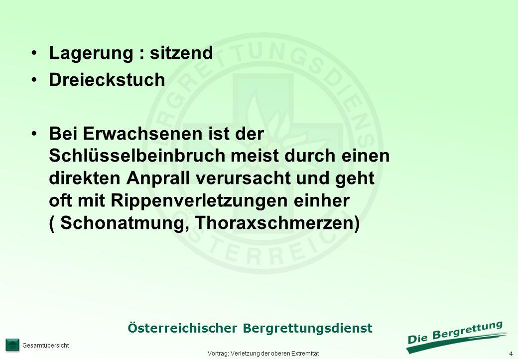 4 Österreichischer Bergrettungsdienst Gesamtübersicht Vortrag: Verletzung der oberen Extremität Lagerung : sitzend Dreieckstuch Bei Erwachsenen ist de