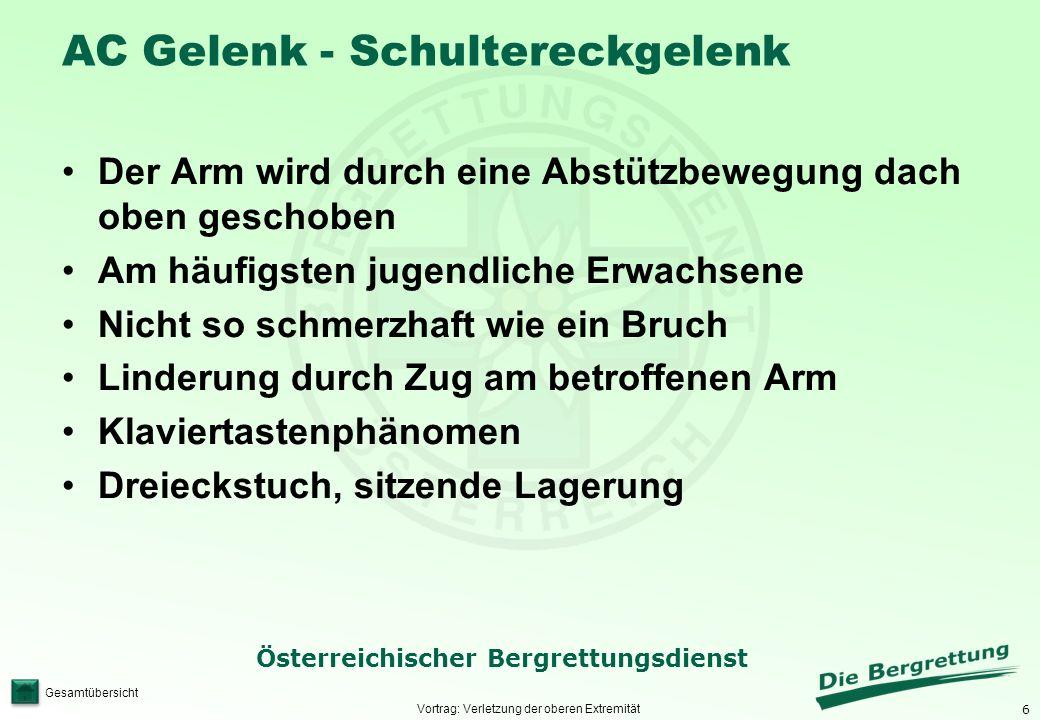 6 Österreichischer Bergrettungsdienst Gesamtübersicht AC Gelenk - Schultereckgelenk Vortrag: Verletzung der oberen Extremität Der Arm wird durch eine