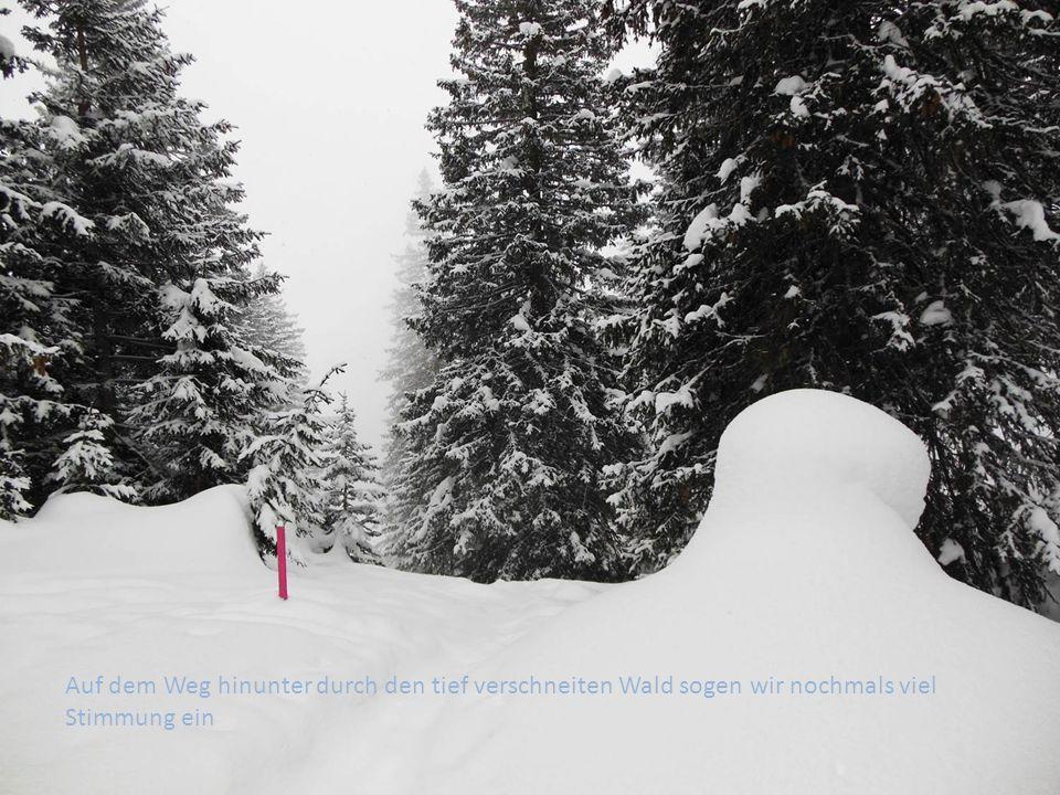 Auf dem Weg hinunter durch den tief verschneiten Wald sogen wir nochmals viel Stimmung ein