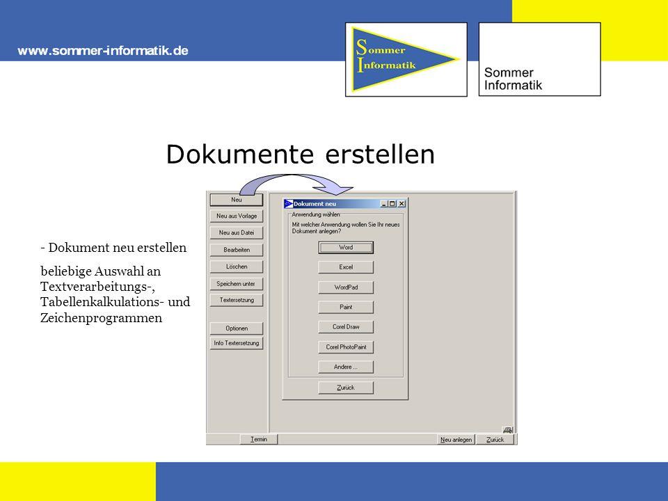Dokumente erstellen - Dokument neu erstellen beliebige Auswahl an Textverarbeitungs-, Tabellenkalkulations- und Zeichenprogrammen