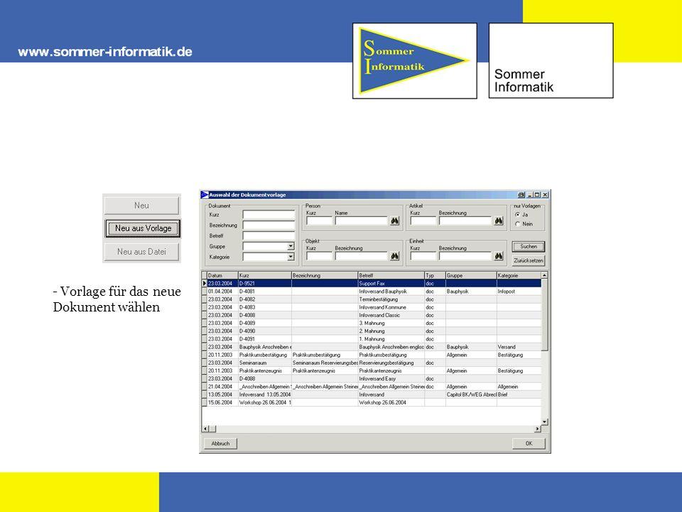 - Vorlage für das neue Dokument wählen