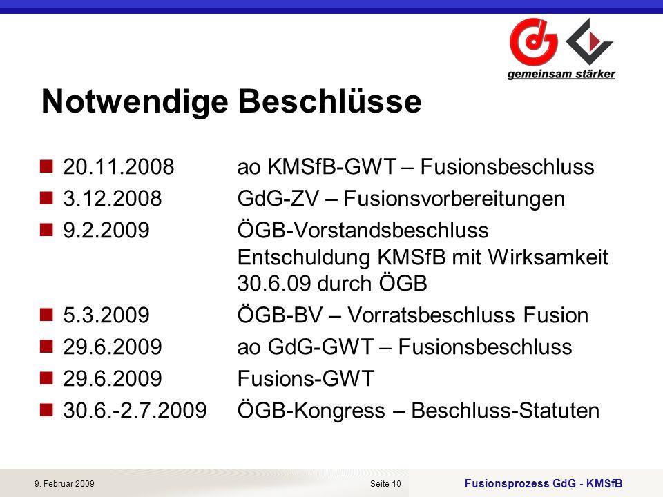 Fusionsprozess GdG - KMSfB 9. Februar 2009Seite 10 Notwendige Beschlüsse 20.11.2008ao KMSfB-GWT – Fusionsbeschluss 3.12.2008GdG-ZV – Fusionsvorbereitu