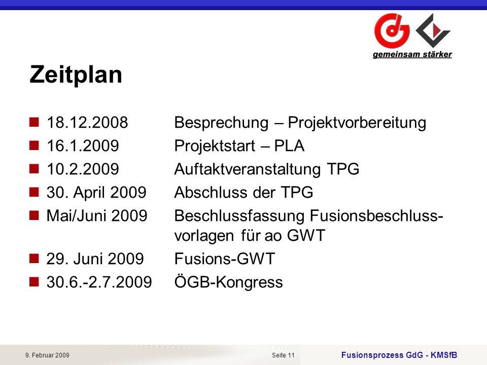 Fusionsprozess GdG - KMSfB 9. Februar 2009Seite 11 Zeitplan 18.12.2008Besprechung – Projektvorbereitung 16.1.2009Projektstart – PLA 10.2.2009Auftaktve