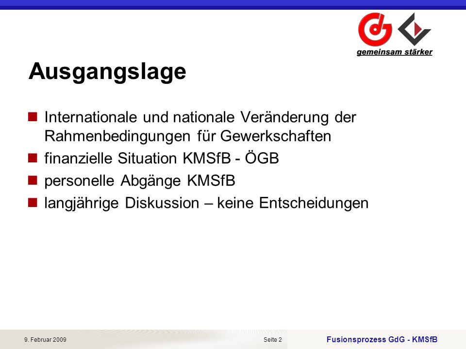 Fusionsprozess GdG - KMSfB 9. Februar 2009Seite 2 Ausgangslage Internationale und nationale Veränderung der Rahmenbedingungen für Gewerkschaften finan