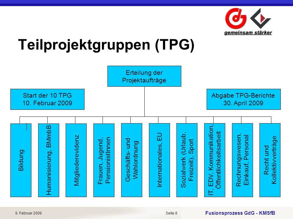 Fusionsprozess GdG - KMSfB 9. Februar 2009Seite 8 Teilprojektgruppen (TPG) BildungMitgliederevidenz Frauen, Jugend, PensionistInnen Humanisierung, BMm