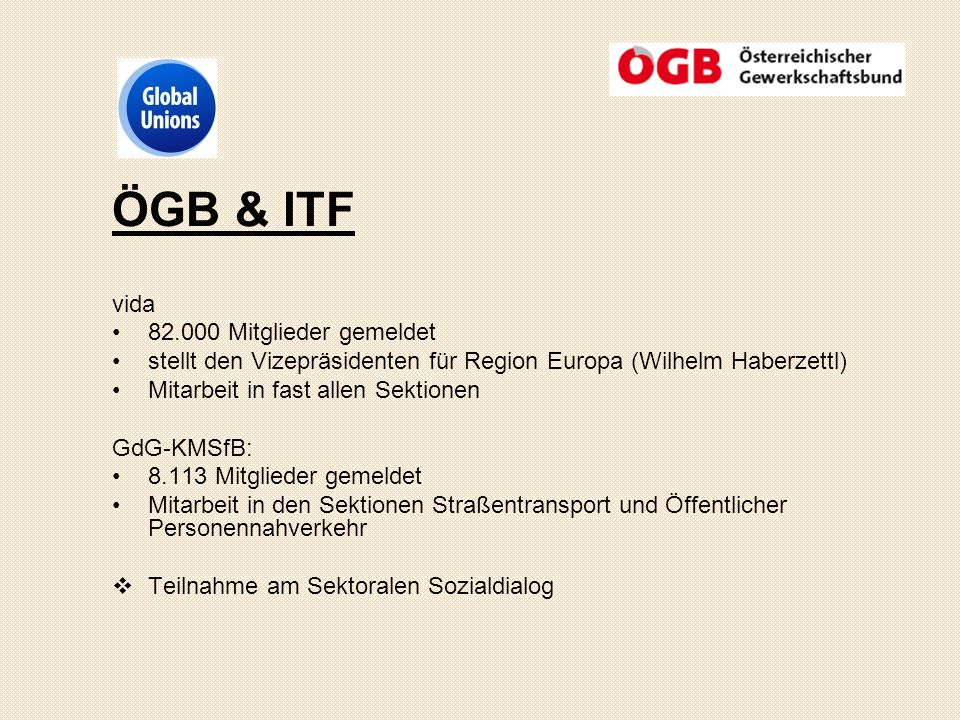 ÖGB & ITF vida 82.000 Mitglieder gemeldet stellt den Vizepräsidenten für Region Europa (Wilhelm Haberzettl) Mitarbeit in fast allen Sektionen GdG-KMSfB: 8.113 Mitglieder gemeldet Mitarbeit in den Sektionen Straßentransport und Öffentlicher Personennahverkehr Teilnahme am Sektoralen Sozialdialog