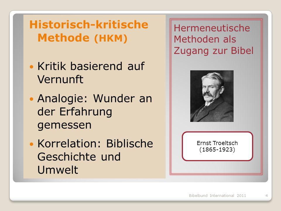 Hermeneutische Methoden als Zugang zur Bibel Historisch-kritische Methode (HKM) Kritik basierend auf Vernunft Analogie: Wunder an der Erfahrung gemess