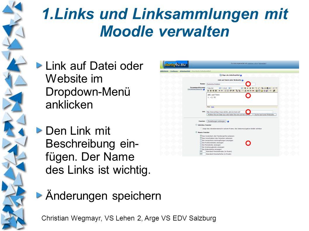 Link auf Datei oder Website im Dropdown-Menü anklicken Den Link mit Beschreibung ein- fügen. Der Name des Links ist wichtig. Änderungen speichern Chri