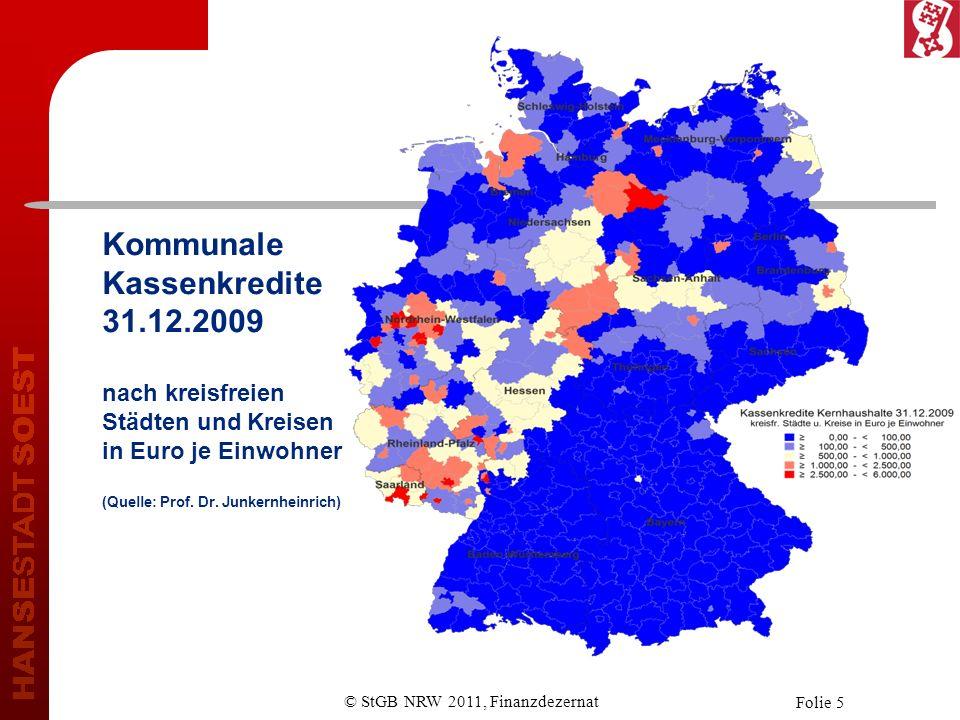 © StGB NRW 2011, Finanzdezernat Folie 5 Kommunale Kassenkredite 31.12.2009 nach kreisfreien Städten und Kreisen in Euro je Einwohner (Quelle: Prof.