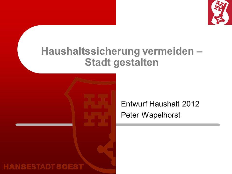 Haushaltssicherung vermeiden – Stadt gestalten Entwurf Haushalt 2012 Peter Wapelhorst