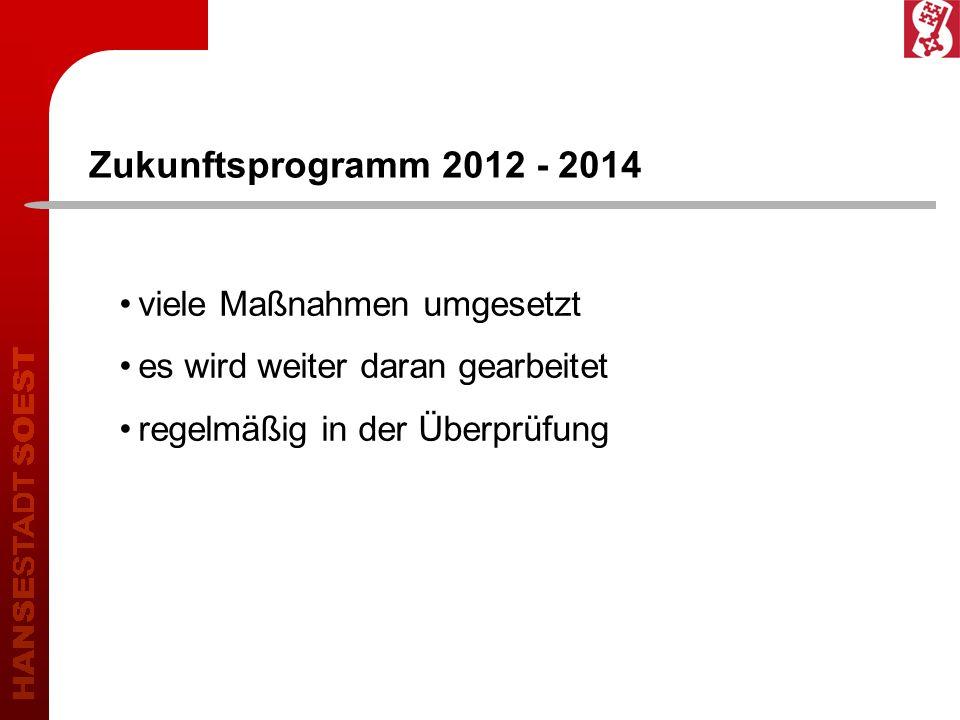 Zukunftsprogramm 2012 - 2014 viele Maßnahmen umgesetzt es wird weiter daran gearbeitet regelmäßig in der Überprüfung