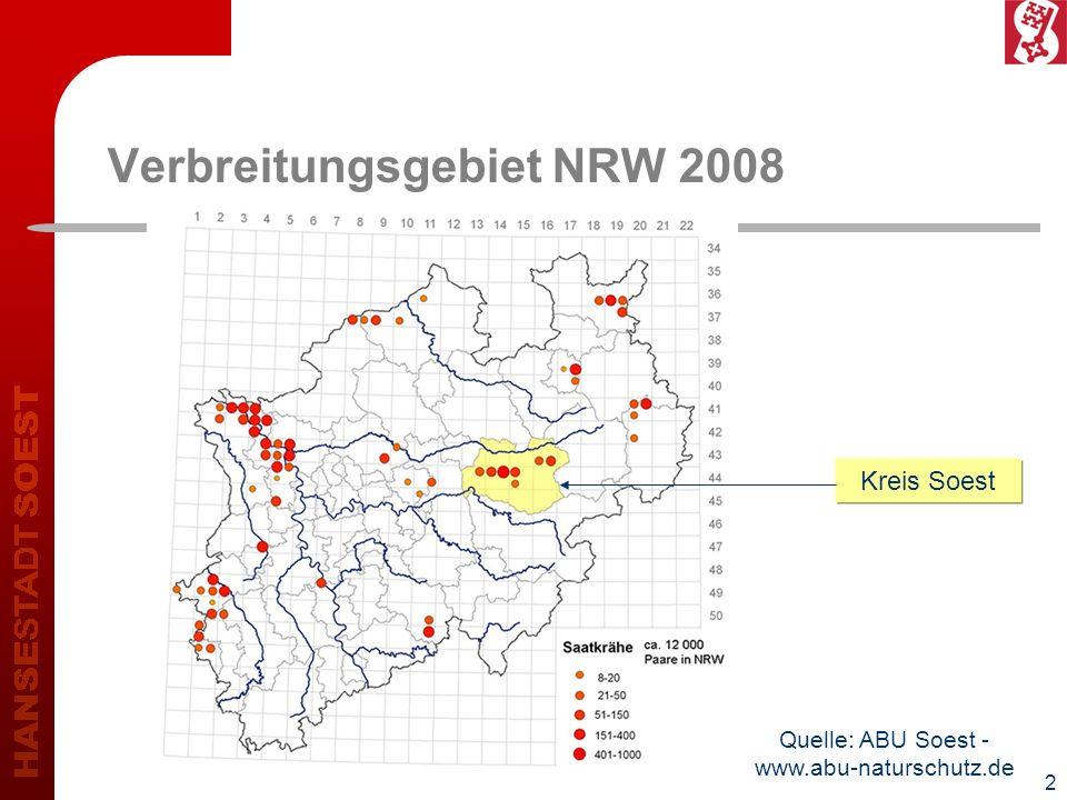 3 Entwicklung Kreis und Stadt Soest 2000200720082009Saatkrähenpaare 5951.3091.6561.672+ 181 %Kreis Soest insgesamt 5431.0531.1741.330+ 145 % Stadt Soest insgesamt (inkl.