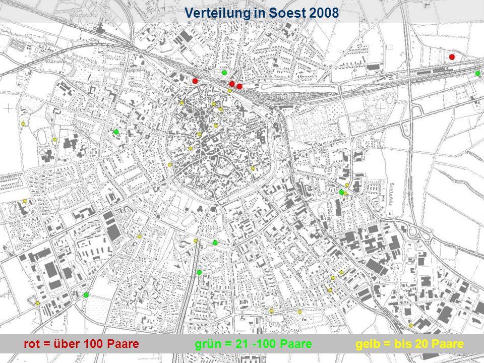 4 Verteilung in Soest rot = über 100 Paaregelb = bis 20 Paaregrün = 21 -100 Paare Verteilung in Soest 2008